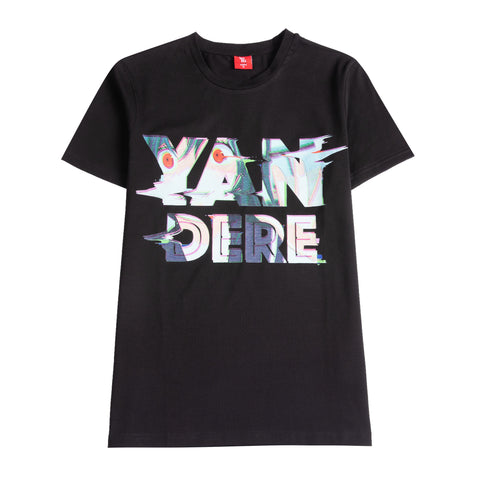 "Black shirt that says ""Yandere"" (Yandere is a character, usually a girl, who fits the archetype of being genuinely kind, loving, or gentle, as well as obsessed with their love interest, sometimes demonstrating this through violent behavior) with a picture of a Yandere in the words."