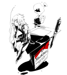 Design inspired by Marlboro, anime male character sitting on a cigarette pack and smoking
