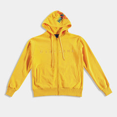 yellow hoodie with bibisama logo