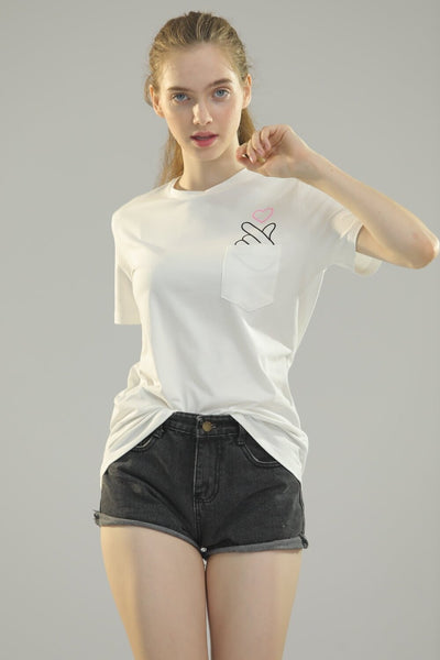 White shirt with Korean inspired finger heart with pocket included.