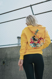 Yellow zipper hoodie with cat original cat design wearing kitsune mask