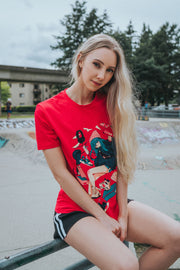 Red shirt, Girl who is obsessed with shoes and the newest Hype gear with bibi cat