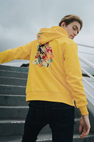 Yellow zipper hoodie with cat original badass cat design wearing kitsune mask