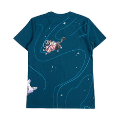 Dark blue shirt with 10 space corgis flying around space with a space cat in a corgi onsie in the back of the shirt