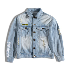 Jean jacket with Hagane written in front of right chest on top of the pocker. has 2 chest pockets and stylishly ripped