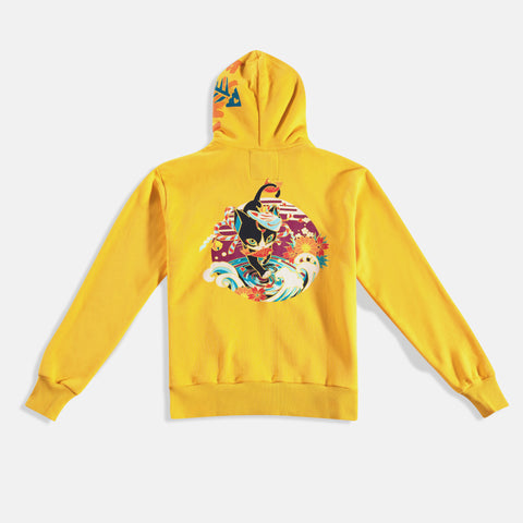 Yellow zipper hoodie with cat original badass cat design wearing kitsune mask carrying a fish in it's mouth