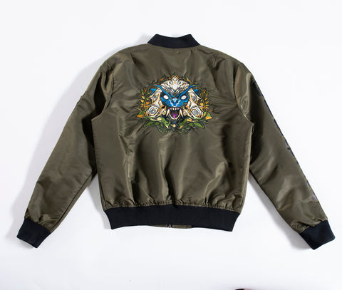 Olive nylon bomber jacket- Design inspired by the Chinese Zodiac Monkey