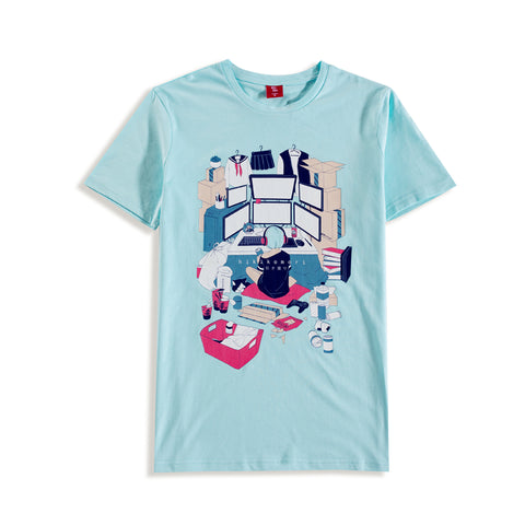Cyan color shirt, design inspired by the Otaku culture in Japan. Girl with cyan hair in her room playing games and watching anime in a messy room surrounded by clothes, her computer monitor and a lot of takeout boxes.