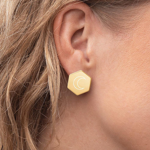 Hexagon Crescent Moon Stud Earrings - Original Family Shop