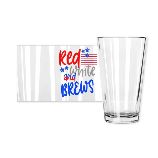 Red, White, And Brews Flag Pint Glass - Original Family Shop