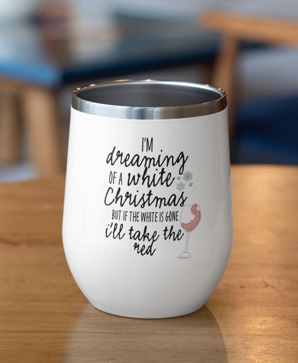 White Christmas Stemless Wine Tumbler - Original Family Shop