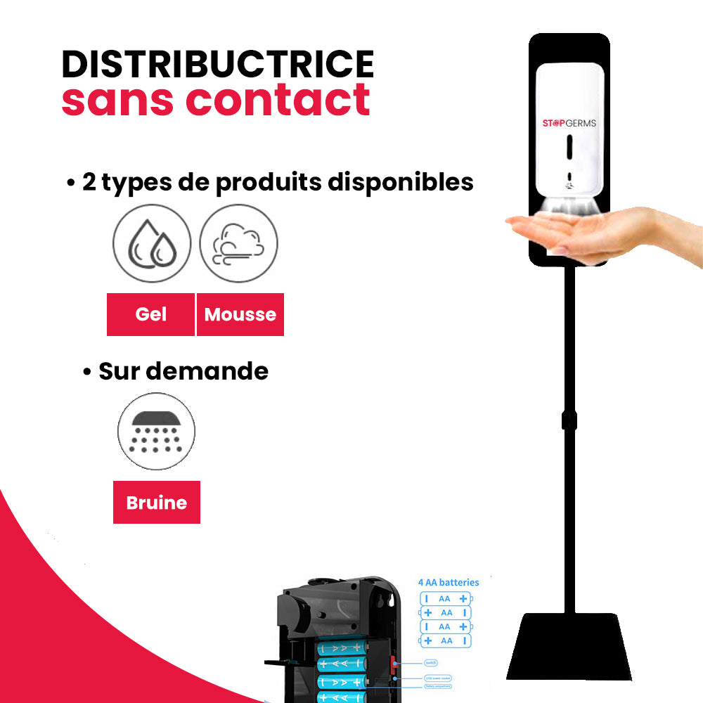 Distributrice SANS CONTACT pour désinfectant en Gel ou en Mousse.