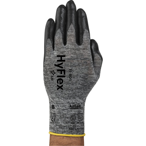 Gants de mousse de nylon Grand, Calibre 15 - Gris - Noir-StopGerms