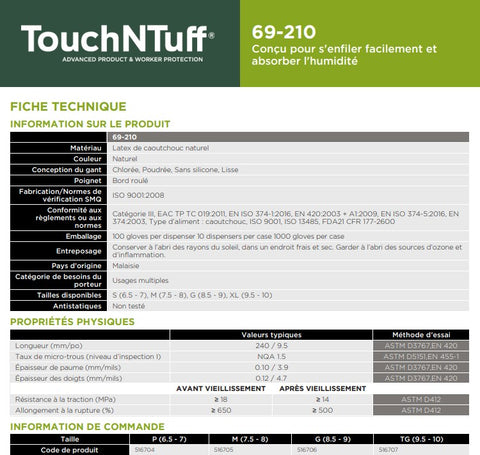 Gants de latex poudré - TouchNtuff 69-210 - Paquet de 100 - Specification Technique - StopGerms