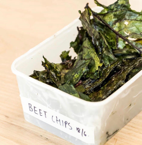 beet leaf chips in labelled container