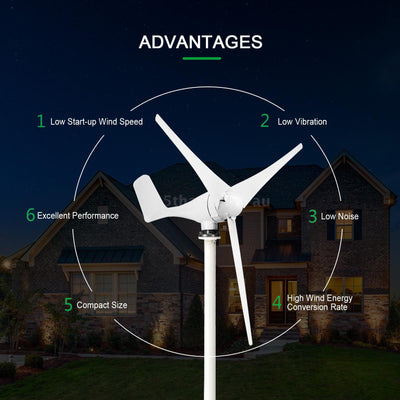 1000W DC 12V Wind Turbine Power Blade Wind Generator off Grid Electricity Battery Charger