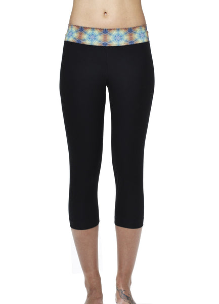 Black Yoga Capri with Spectral Prism Waist