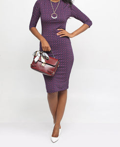 Printed Bodycon Dress - Purple - Belladeem