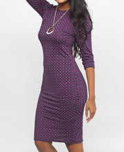 Load image into Gallery viewer, Printed Bodycon Dress - Purple - Belladeem