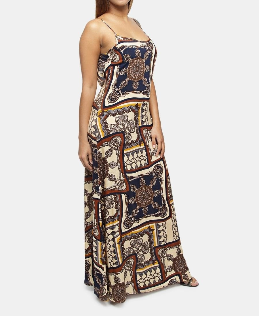 Printed Viscose Strappy Dress - Brown - Belladeem