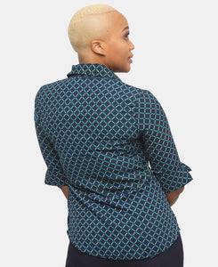 3/4 Sleeve Blouse - Navy - Belladeem