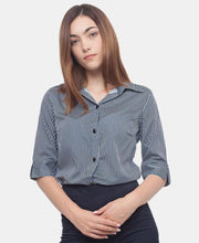Load image into Gallery viewer, 3/4 Sleeve Blouse - Navy-White - Belladeem