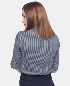 3/4 Sleeve Blouse - Navy-White - Belladeem