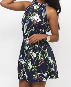 Floral Dress - Navy - Belladeem