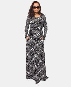 Maxi Dress - Black-White - Belladeem