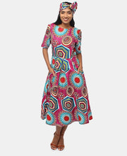 Load image into Gallery viewer, 2 Piece Ethnic Dress And Doek - Teal - Belladeem