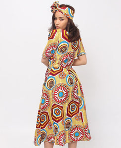 2 Piece Ethnic Dress And Doek - Yellow - Belladeem