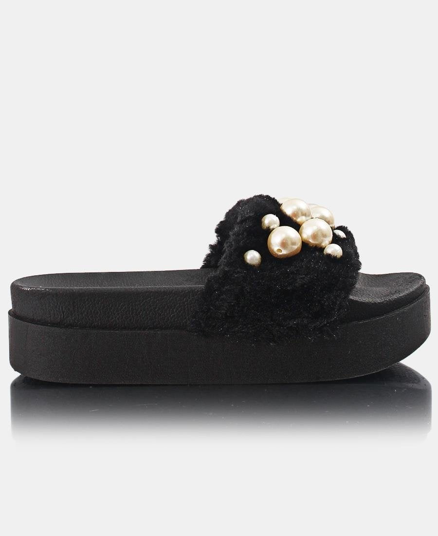 Fur Sandals - Black - Belladeem