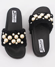 Load image into Gallery viewer, Fur Sandals - Black - Belladeem