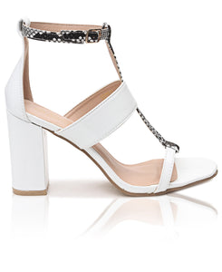 Block Heels - White - Belladeem