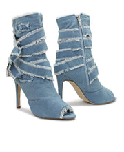 Load image into Gallery viewer, Denim Boots - Blue - Belladeem