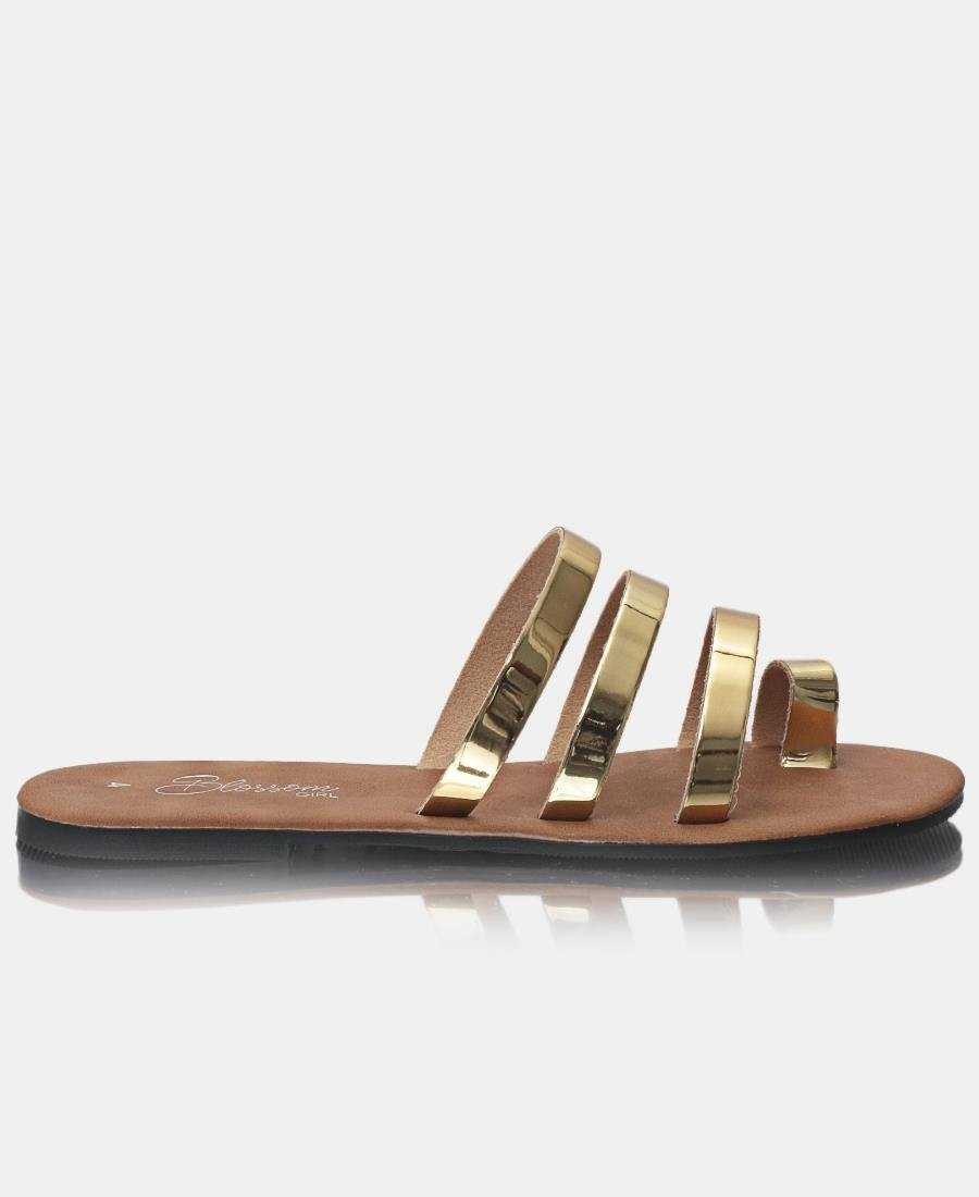 Strappy Sandals - Gold - Belladeem