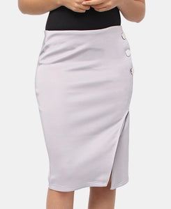 Button Detail Skirt - Grey - Belladeem