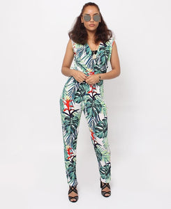 Floral Jumpsuit - Green - Belladeem