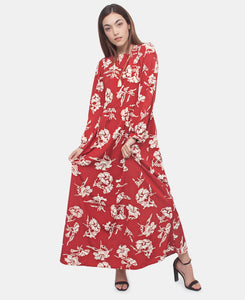 Long Sleeve Maxi Dress - Red - Belladeem