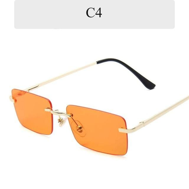 New Rectangle Rimless Sunglasses