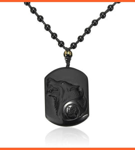 Natural Black Wolf Head Pendant with Necklace