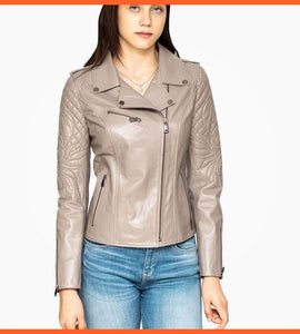 Beige Leather Biker Jacket For Women
