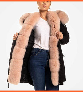 Fur Trimmed Parka For Women Black