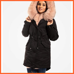 Yellow Grapevine Jackets & Coats Fur Trimmed Parka For Women Black