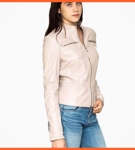 Off White Leather Biker Jacket For Women