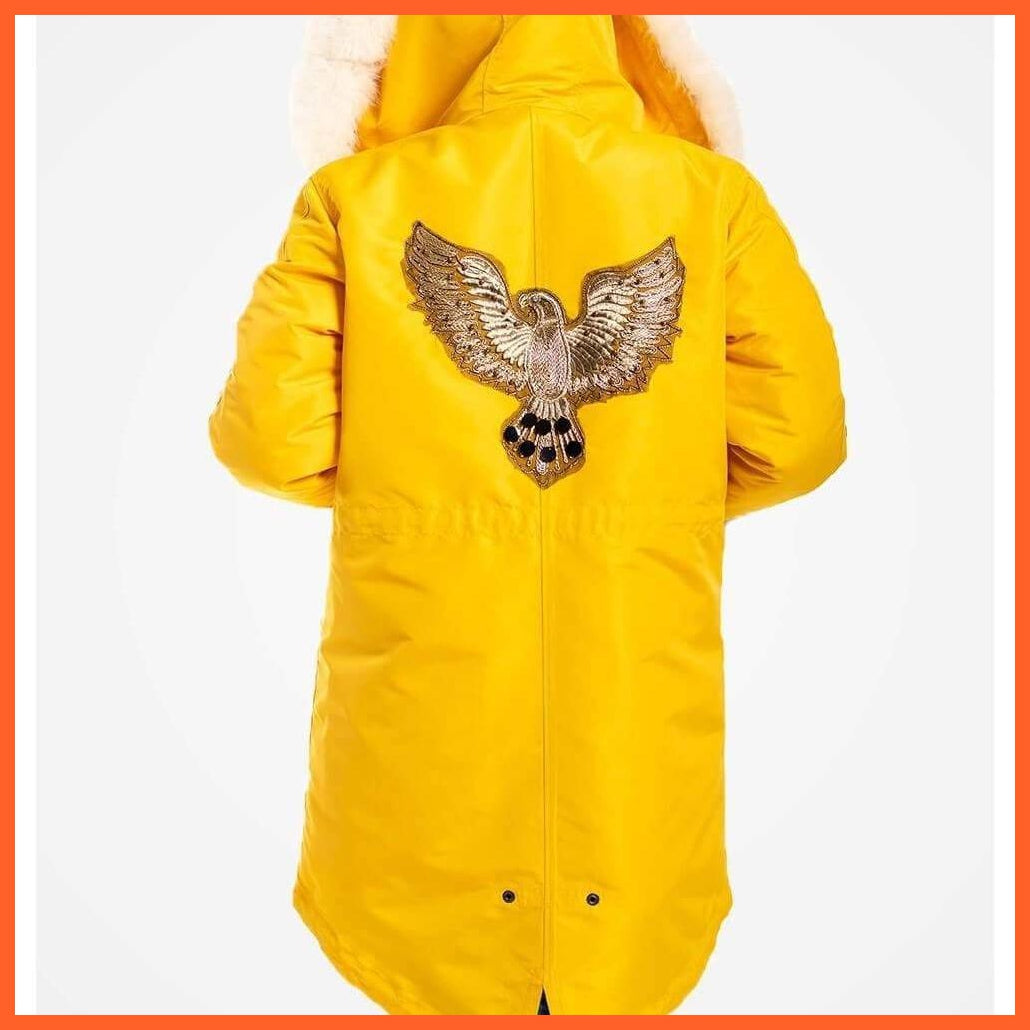 Yellow Grapevine Jackets & Coats Yellow Fur Trimmed Parka For Women