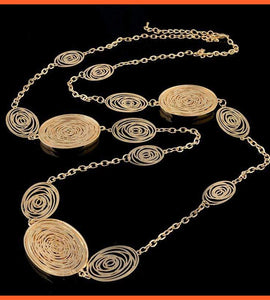 Long Gold Color Necklace with Fashionable Oval Pendants