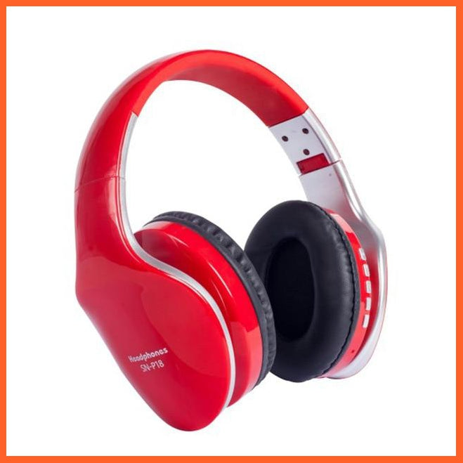 whatagift.com.au Red / CHINA Fold-able Wireless Bluetooth Headphones