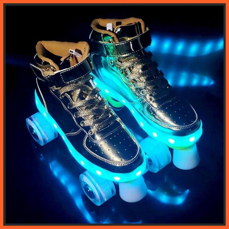 ledlegs Shiny Roller Skates with Lights for Skating Arenas and Parties Silver