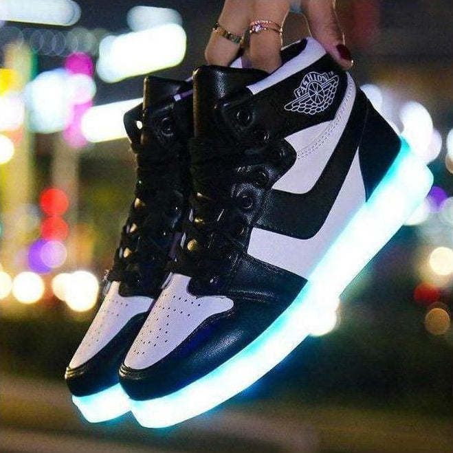 ledlegs Shoes Unisex Black / 33 LED sports shoes sneakers high top USB - B & W